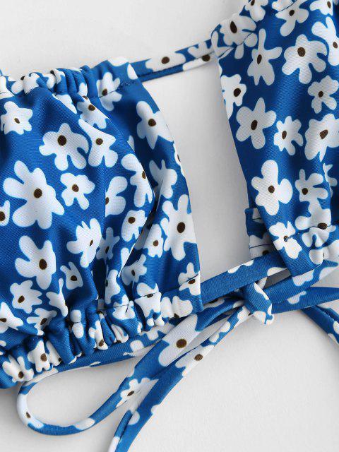 fashion ZAFUL Flower Drawstring Cutout String Bikini Top - LIGHT BLUE S Mobile