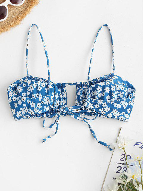 chic ZAFUL Flower Drawstring Cutout String Bikini Top - LIGHT BLUE M Mobile