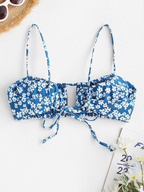 fancy ZAFUL Flower Drawstring Cutout String Bikini Top - LIGHT BLUE L Mobile