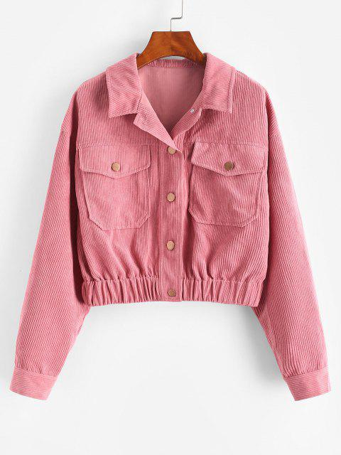 ZAFUL  Button Up Corduroy Jacket - شاحب بنفسجي أحمر XL Mobile