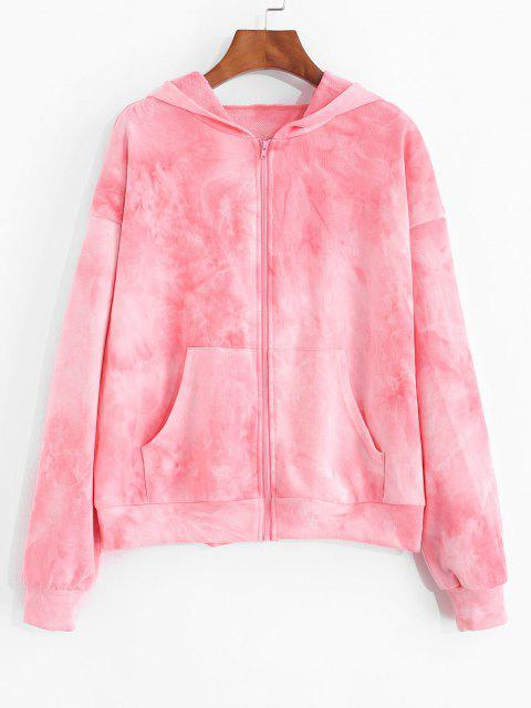 unique ZAFUL Pastal Tie Dye Zip Up Hoodie - PINK S Mobile