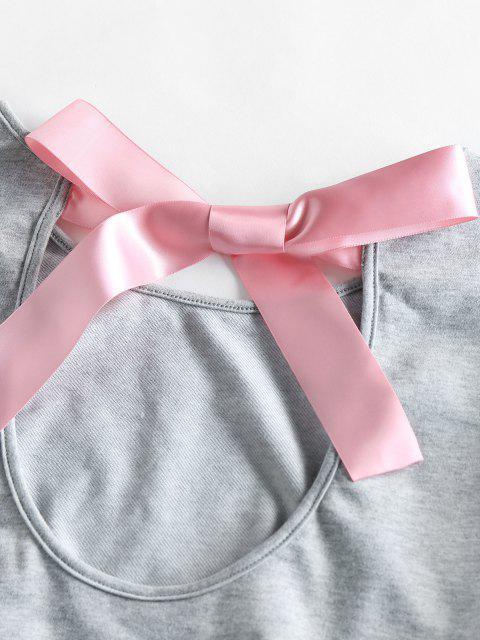 sale ZAFUL Cutout Bowknot Drop Shoulder Shorts Set - DARK GRAY M Mobile