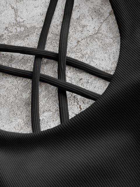 fancy ZAFUL Ribbed High Leg Strappy Bikini Swimsuit - BLACK S Mobile