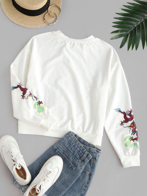 ZAFUL Dragon Print Oriental Sweatshirt - أبيض XL Mobile