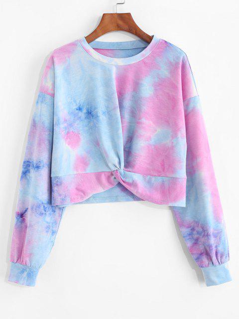 trendy ZAFUL Front Twist Tie Dye Crop Sweatshirt - MULTI M Mobile