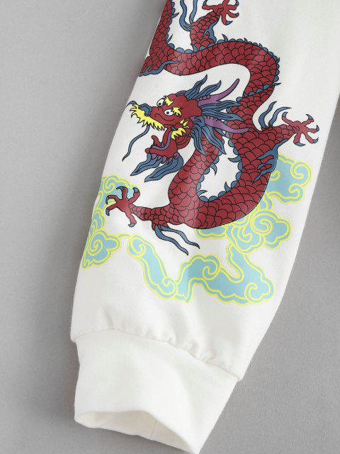 fancy ZAFUL Dragon Print Oriental Sweatshirt - WHITE S Mobile