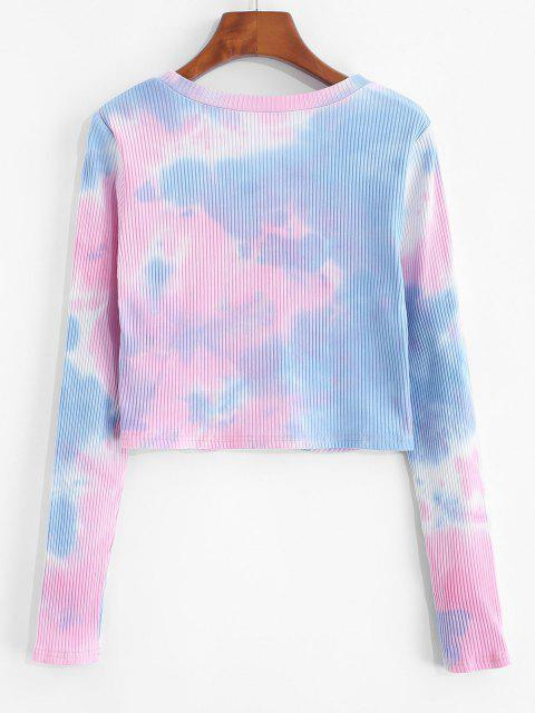 fancy ZAFUL Front Twist Tie Dye Crop T Shirt - MULTI-A S Mobile