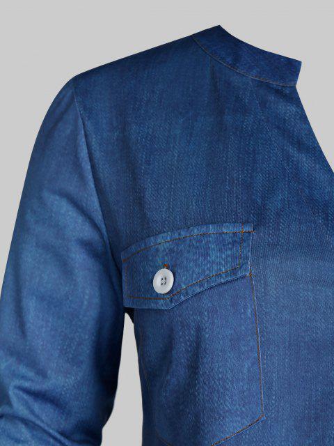 Chemise en Couleur Ombrée à Manches Roulées Grande Taille - Bleu Toile de Jean 5X Mobile