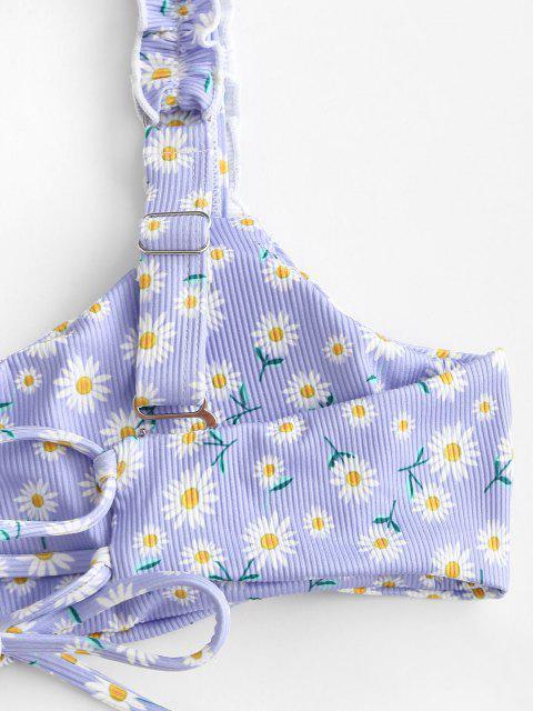 sale ZAFUL Ribbed Daisy Print Lettuce Strap Scrunch Butt Bikini Swimwear - LIGHT PURPLE S Mobile