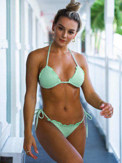 latest Jessica Stockstill x ZAFUL Halter Ribbed Smocked String Bikini Swimwear - LIGHT GREEN S Mobile