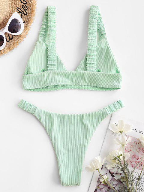 trendy Jessica Stockstill x ZAFUL Elasticated Straps Ribbed Bikini Swimwear - LIGHT GREEN S Mobile