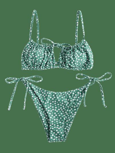 Jessica Stockstill x ZAFUL Ditsy Print Cutout String Bikini Swimwear