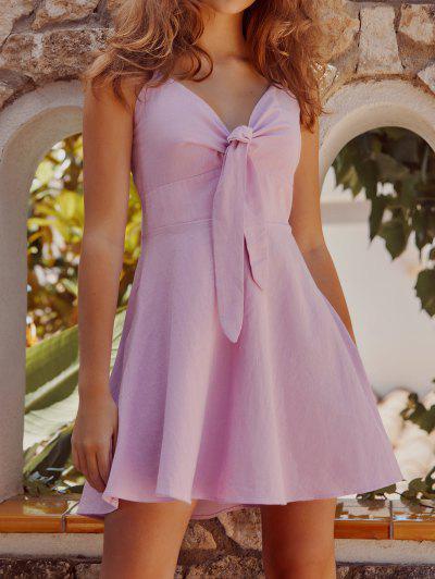 ZAFUL Tie Front A Line Cami Dress - Light Purple S