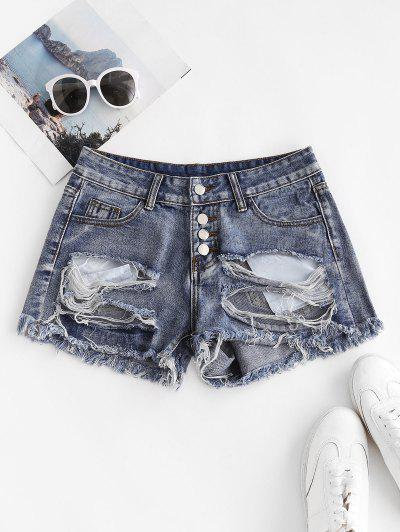 Patriotic American Flag Distressed Button Fly Jean Shorts - Blue M