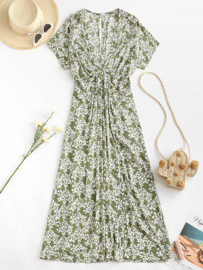 Empire Waist Floral Front Slit Midi Dress - Light Green M