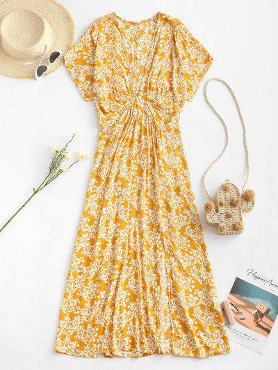 Empire Waist Floral Front Slit Midi Dress - Light Yellow S