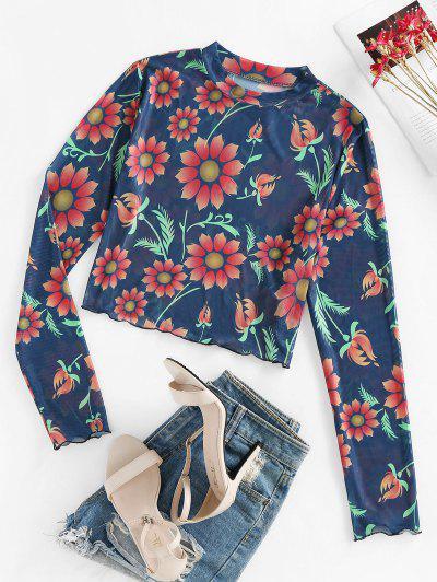 ZAFUL Flower Print Mesh Long Sleeve T-shirt - Deep Blue M