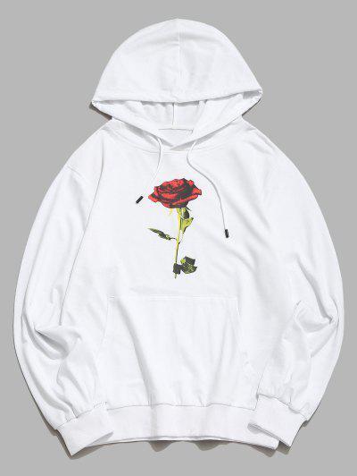 Känguru Tasche Rose Blumendruck Hoodie - Weiß M
