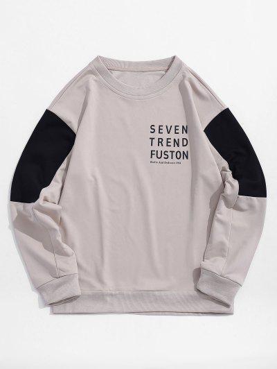 Sweat-shirt Lettre Imprimée Panneau En Blocs De Couleurs - Blanc Chaud S