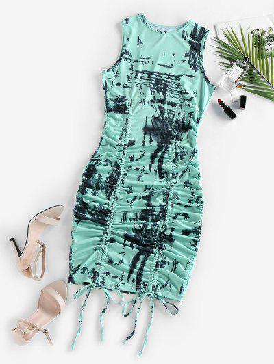 Cinched Tie Dye Bodycon Dress - Multi S