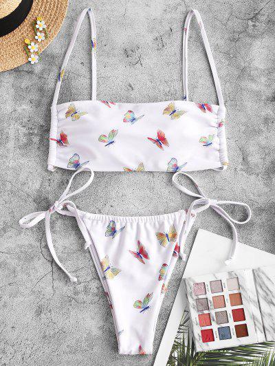 ZAFUL Padded Butterfly Print String Bikini Swimwear - White S