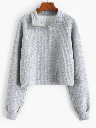 Pull Ring Marled Raw Hem Sweatshirt - Gray S