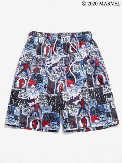 Marvel Spider-Man Comics Graphic Print Shorts - Blue Gray S