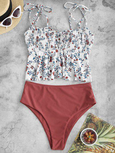 ZAFUL Floral Smocked Cutout Peplum Tankini Swimwear - White L
