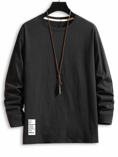 T-shirt LettreTexteGoutte Epaule à Manches Longues - Noir 3xl