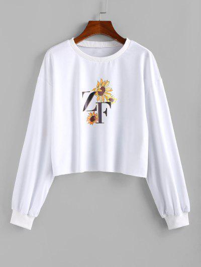 ZAFUL Flower ZF Graphic Drop Shoulder Sweatshirt - White S