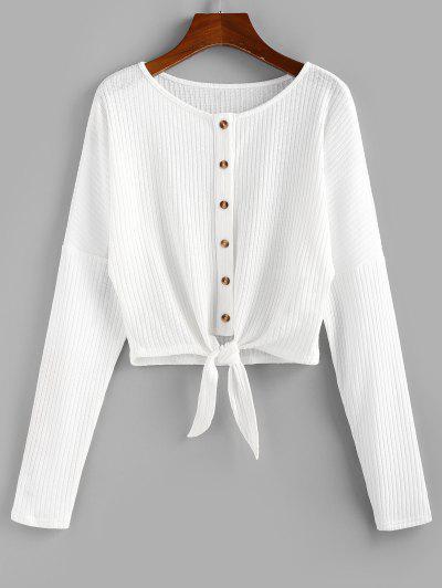ZAFUL Front Tie Rib Knit Cardigan - Milk White M