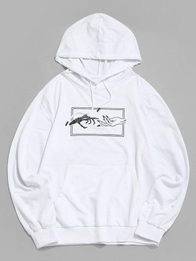 Moletom De Mãos Gráfico Canguru Bolso Do Canguru Da Cópia - Branco L