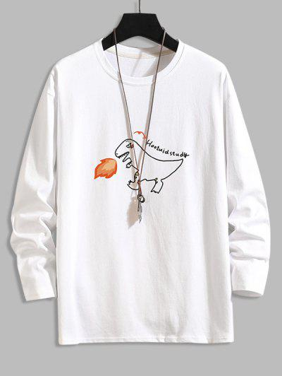 Fire Dinosaur Letter Graphic Basic T-shirt - White 4xl