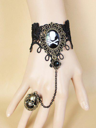 Halloween Skull Ring Chain Lace Bracelet - Black