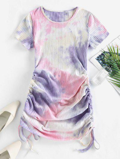 ZAFUL Cinched Tie Dye Ribbed Bodycon Dress - Light Pink L