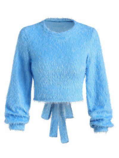 ZAFUL Cutout Back Tie Fuzzy Cropped Sweater - Cornflower Blue M