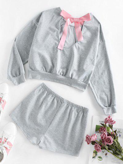 ZAFUL Cutout Bowknot Drop Shoulder Shorts Set - Dark Gray L
