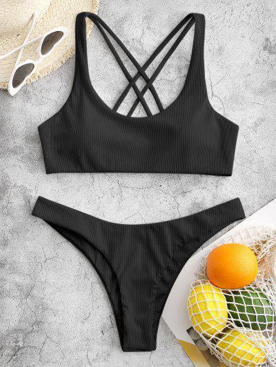 ZAFUL Ribbed High Leg Strappy Bikini Swimsuit - Black M
