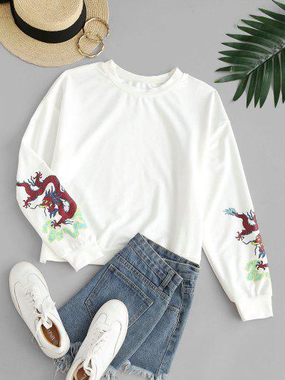 ZAFUL Dragon Print Oriental Sweatshirt - White L