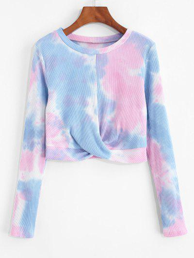 ZAFUL Front Twist Tie Dye Crop T Shirt - Multi-a L