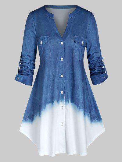 Plus Size Roll Up Sleeve Ombre Color Shirt - Denim Blue 2x