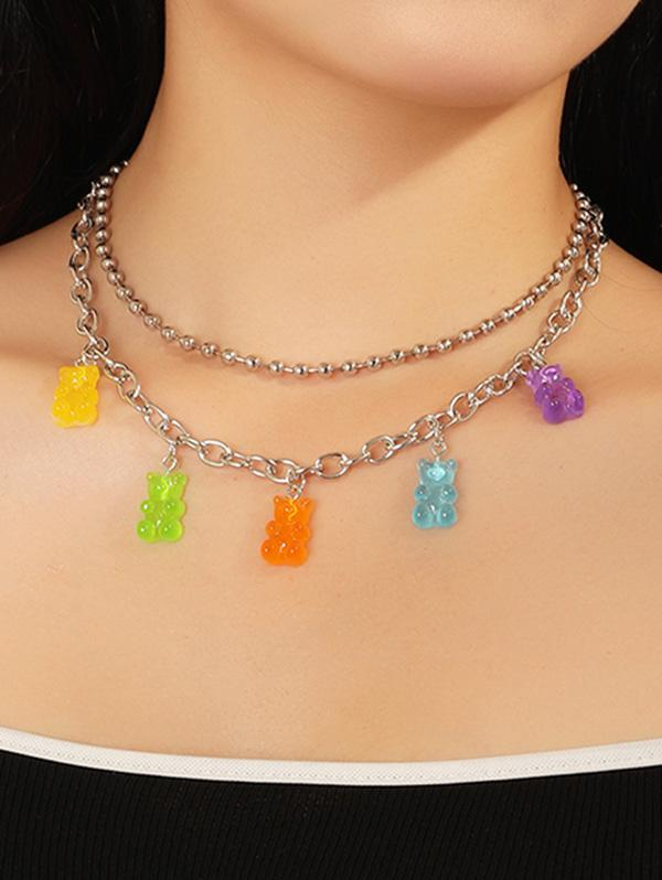 2Pcs Resin Bear Chain Necklace Set