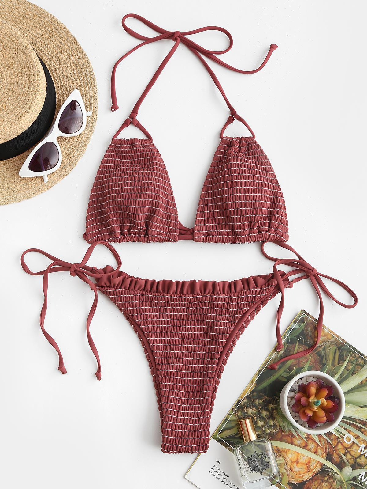 ZAFUL Smocked Ruffle Tie Side String Bikini Swimwear