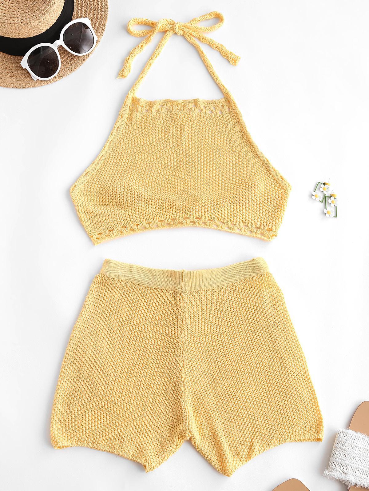 Crochet Hollow Out Halter Shorts Set