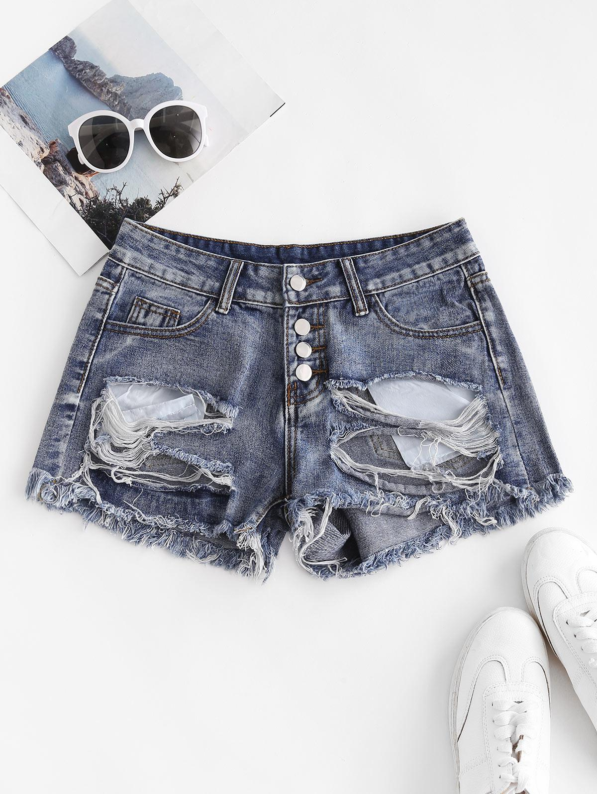 Patriotic American Flag Distressed Button Fly Jean Shorts