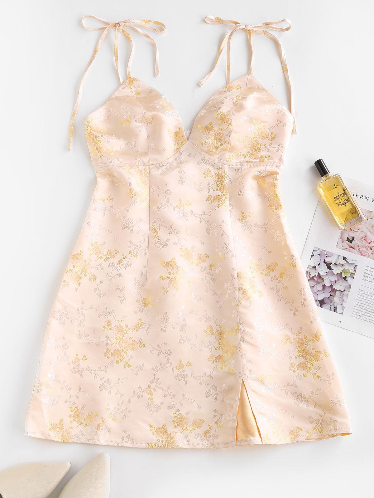 ZAFUL Tie Shoulder Floral Jacquard Slit Oriental Dress