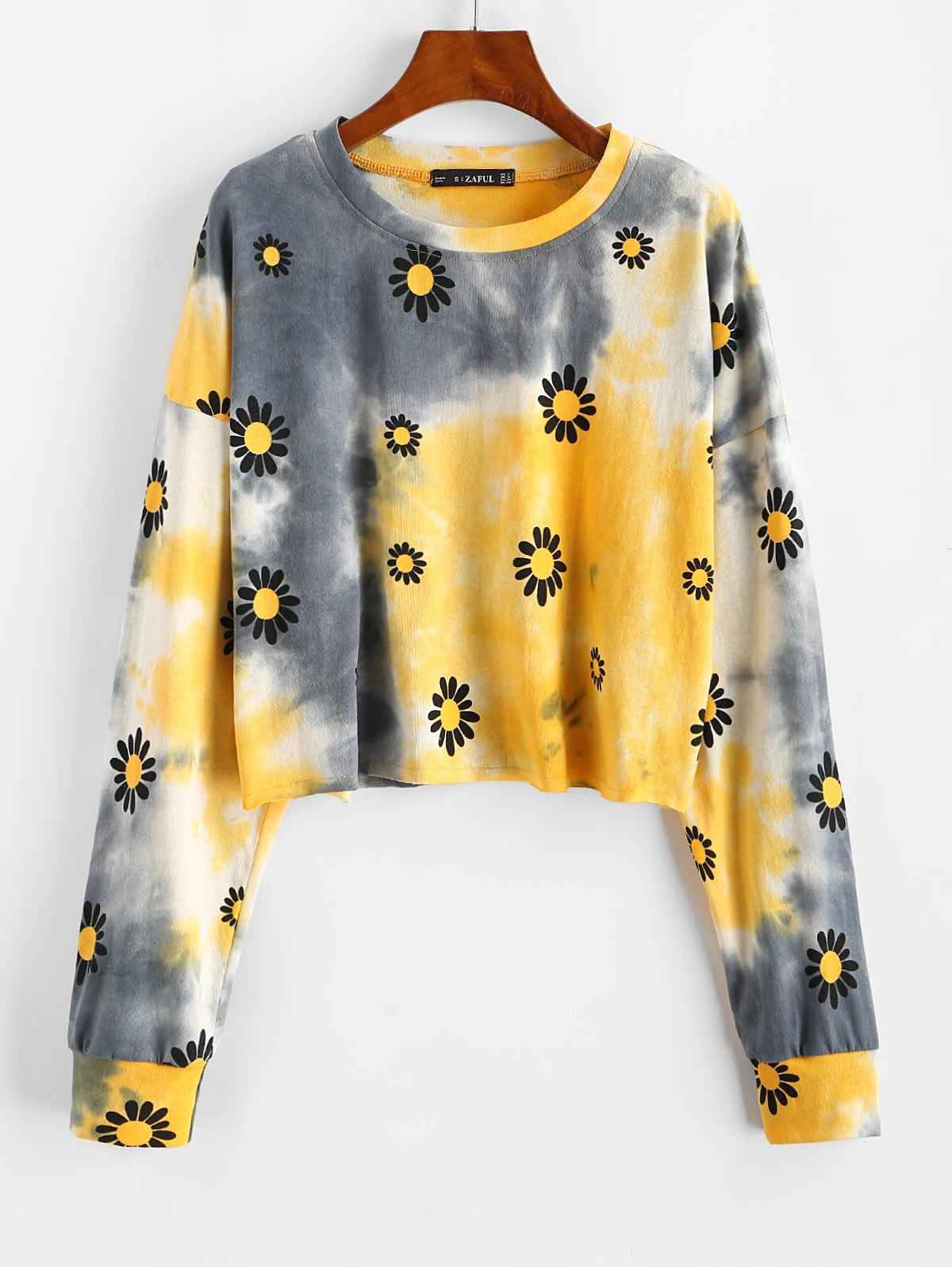 Daisy Tie Dye Raw Hem Sweatshirt