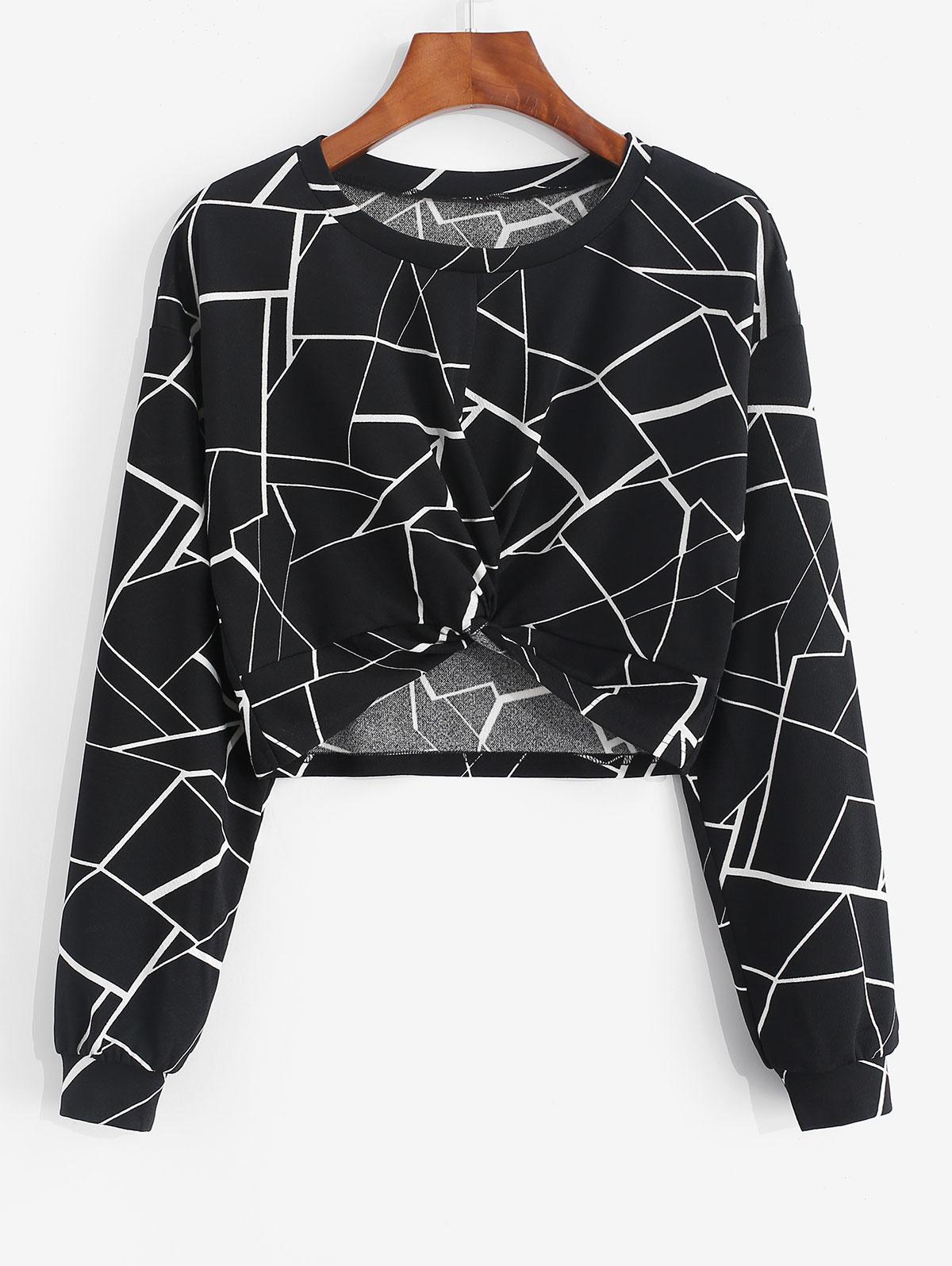 ZAFUL Geometry Front Twist Crop Sweatshirt