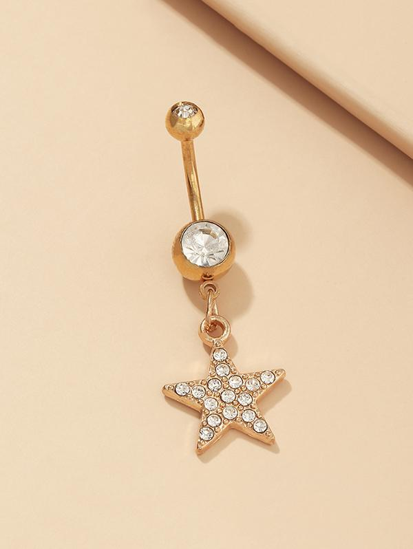 Star Rhinestone Pendant Navel Ring