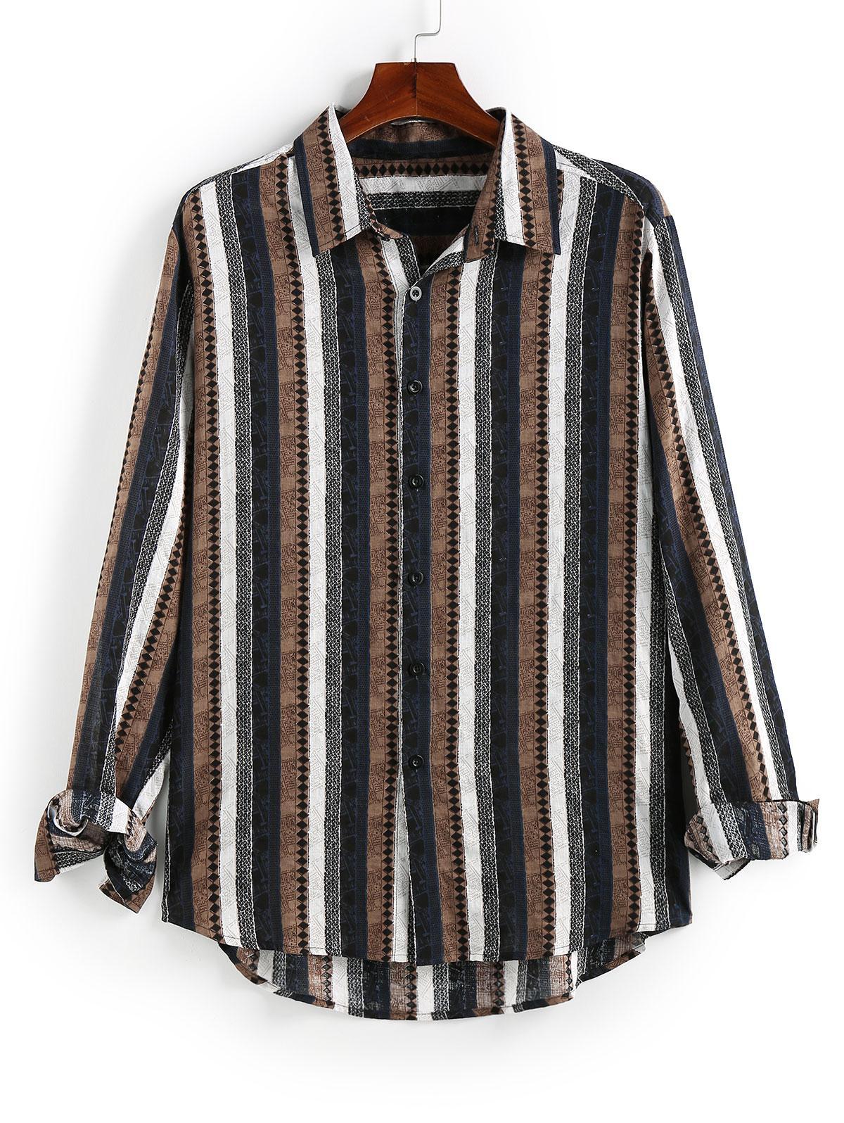 Chemise Haute Basse Boutonnée Rayée Imprimée - ZAFUL - Modalova